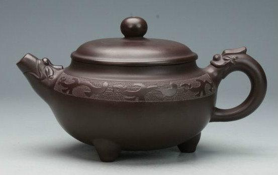 Tripodia Teapot Chinese Gongfu Teapot Yixing Pottery Handmade Zisha Clay Teapot Guaranteed 100%Genuine Original Mineral Fired
