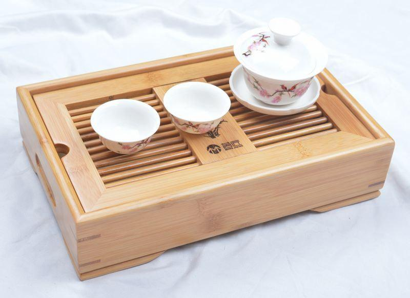 Gift:Bamboo Tea Tray Displaying And Serveing Tea Tea Tray Handicraft Chinese Kung-Fu Tea Set Chinese Teaism Practice.