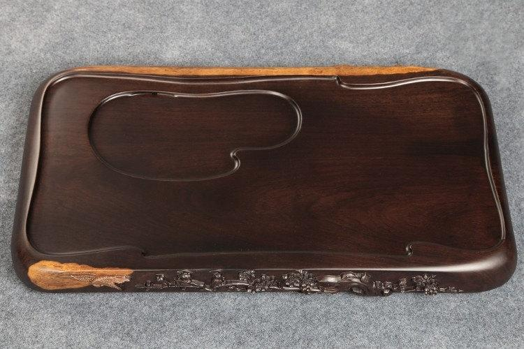 Big Ebony Wood Tea Tray Displaying And Serveing Tea Tea Tray Handicraft Chinese Kung-Fu Tea Set Chinese Teaism Practice.