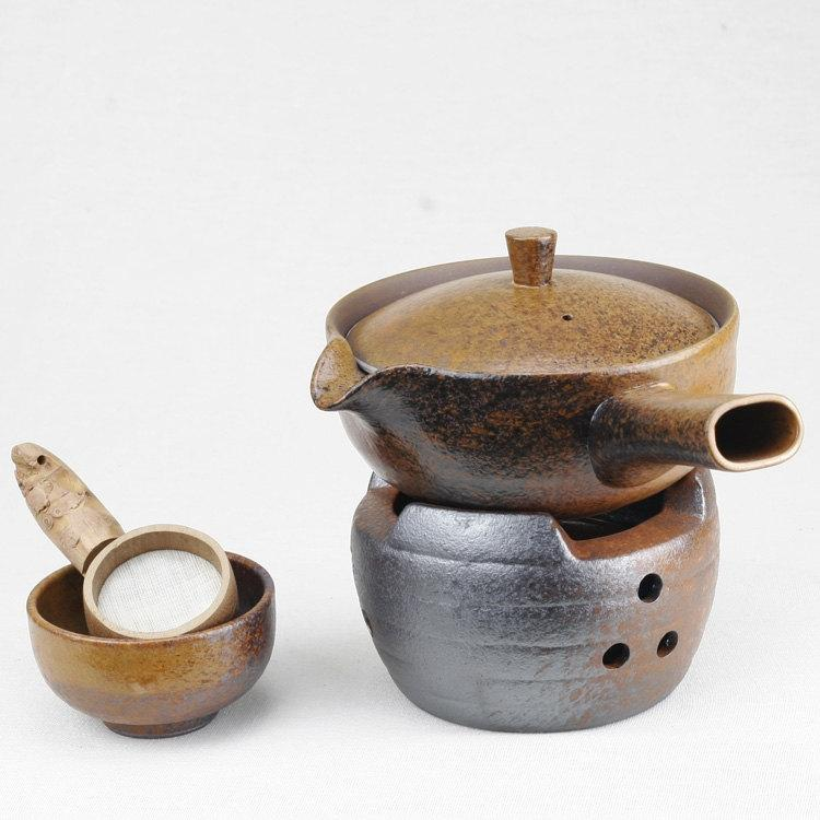 A Complete Set Of Handmade Crude Ceramic Tea Wares Handmade And Hand-Drawing Rude Ceramic Tea Set Brewing Pu-Erhtea Ware