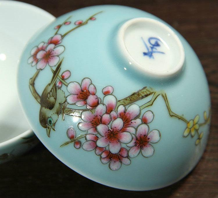 4 Hand-Painting Famille Rose Porcelain Tea Cups Chinese Famille Rose Porcelain Porcelain Tea Set Chinese Style Ceramic Teaware