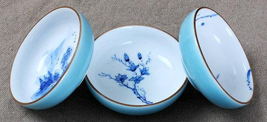6 Hand-Drawing Oriental Vintage Style Pattern Blue And White Ceramic Tea Cup Jingdezhen Color Glaze Porcelain Teawares