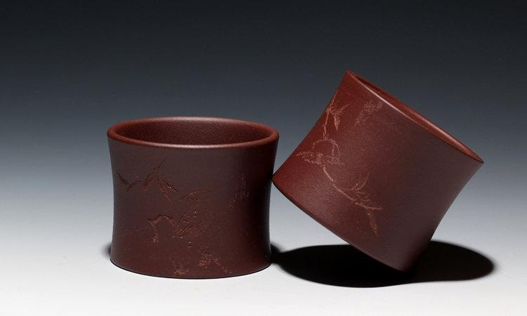 4 Hand-Made Zisha Clay Tea Cup Yixing Pottery Handmade Zisha Clay Teapot Guaranteed 100%Genuine Original Mineral Fired