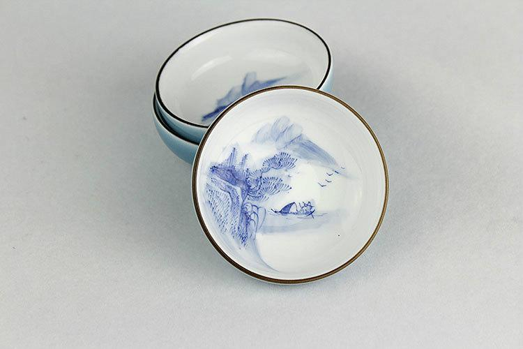 6 Hand-Painting Flowers Pattern Blue And White Ceramic Tea Cup Chinese Blue And White Porcelain Tea Set Chinese Style Ceramic Teaware