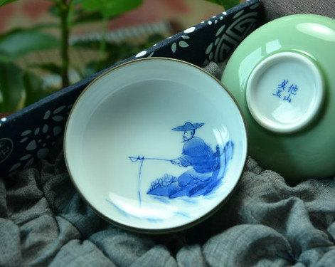 4 Hand-Painting Flowers Pattern Blue And White Ceramic Tea Cup Chinese Blue And White Porcelain Tea Set Chinese Style Ceramic Teaware