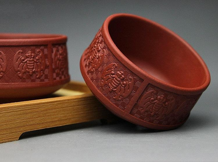 8 Hand-Made Zisha Clay Tea Cup Yixing Pottery Handmade Zisha Clay Teapot Guaranteed 100%Genuine Original Mineral Fired